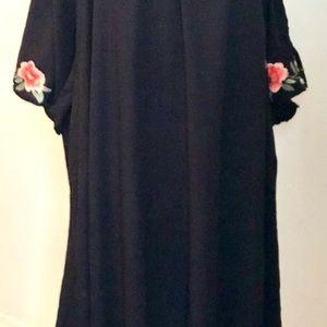Black Floral Off Shoulder Dress